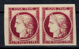 PAIRE CERES 1F CARMIN Avec BORD DE FEUILLE (REPRODUCTION) En NEUF Avec GOMME** LUXE 1er Choix - 1849-1850 Cérès