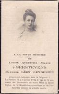 LA PASTURE Louise T'SERSTEVENS Baronne Léon GENDEBIEN 70 Ans 1932 CDV Souvenir Mortuaire - Décès