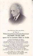 BAZEL Philippe-Gérard Vicomte VILAIN XIII époux Le GRELLE Ancien Burgemeester 1896-1970 DP Souvenir Mortuaire - Décès