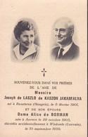 ANVERS WINKSELE Accident Joseph De LASZLO De KASZON JAKABFALVA Et Alice De BORMAN 1959 Louvain DP Souvenir Mortuaire - Décès