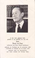 TURNHOUT BRUXELLES Baron Jean Du FOUR 1905-1974 DP Souvenir Mortuaire - Décès