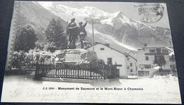 Schweiz Suisse Helvetia 1904: Monument De Saussure Et Le Mont-Blanc à Chamonix, Avec O MARTIGNY-VILLE 13.VIII.04 - Escalade