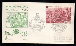ORDRE SOUVERAIN DE MALTE - SMOM / 1968 NOEL ENVELOPPE FDC (ref LE3106) - Malte (Ordre De)