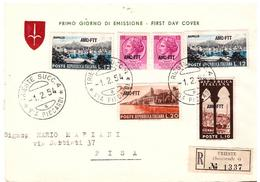 Fdc Velicogna: TURISTICA (1954); Raccomandata - Storia Postale