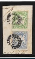 D-Bay085 / Bayern, Mi.Nr. 14 + 16, Fragment Mit Mühlradstempel 262 (+ 9) Krumbach - Bavaria