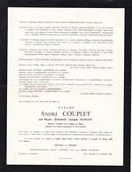 WEZ-VELVAIN Marie DUPONT épouse André COUPLET Conseiller Communal 1912-1966 Mons-en-Bareuil 2 Volets Complets - Décès