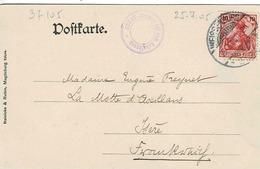 TP N° 69 Sur Carte Postale De Weissenburg Pour La Motte D'Aveillans  Avec Cachet D L'hébergement - Allemagne