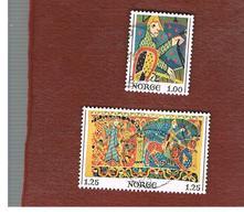NORVEGIA  (NORWAY)    SG 768.769  -   1975 CHRISTMAS: STAVE CHURCH (TAPESTRY)  -   USED ° - Norvegia