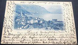 Schweiz Suisse Helvetia 1899: Gruss Aus.......Montreux Mit O ZÜRICH 13.IX.99 NEUMÜNSTER Nach ZUG 13.IX.99 - VD Vaud