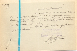 Brief Lettre - Fernand Van Acker - Renaix Ronse - Naar Kadaster 1932 + Brief Met Antwoord - Non Classés