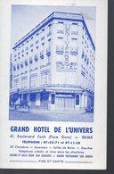 Reims (51 Marne) Carte HOTEL DE L'UNIVERS Avec Plan Au Verso  (PPP16812) - Advertising