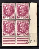 FRANCE 1941 - BLOC DE 4 TP Y.T. N° 505 - NEUFS** COIN DE FEUILLE / DATE - 1940-1949