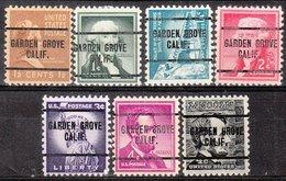 USA Precancel Vorausentwertung Preo, Locals California, Garden Grove 259, 7 Diff. - Préoblitérés