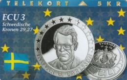 Denmark, P 054, ECU-Sweden,  Mint, Only 1300 Issued, Coin, Flag. - Denmark