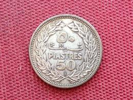 LIBAN LEBANON Monnaie De 50 Piastres 1952 En Argent - Lebanon