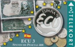 Denmark, TP 094A, ECU-Spain, Mint, Only 1500 Issued, Coins, Notes, Flag. - Denmark
