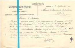Brief Lettre - Memo Huissier Michel Delfosse - Renaix Ronse - Naar Kadaster 1924 - Brief Met Antwoord - Non Classés