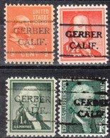 USA Precancel Vorausentwertung Preo, Locals California, Gerber 716, 4 Diff. - Préoblitérés