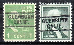 USA Precancel Vorausentwertung Preo, Locals California, Glenburn 729, 2 Diff. - Préoblitérés