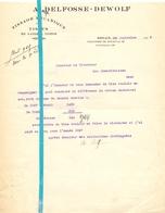 Brief Lettre - Tissage Delfosse - Dewolf  Renaix Ronse - Naar Kadaster 1928  + Brief Met Antwoord - Non Classés