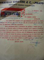 """Lettera Commerciale """"FRATELLI GIACONI & C. PRATO PRODOTTI CHIMICI COLORANTI"""" 24 Settembre 1932 - Italia"""