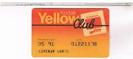 CARTE KODAK  PLASTIQUE 1991 FORMAT CARTE CREDIT - Cartes