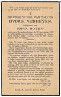 Dp. Verheyen Livinus. Echtg. Boven Sophia. ° Kwaadmechelen 1887 † Olmen 1951 - Religion & Esotericism