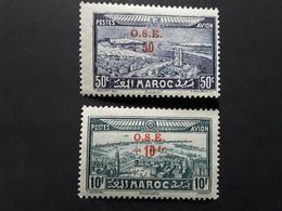 MAROC 1938 Serie  Poste Aérienne Oeuvres De L' Enfance, Surchargés O S E,  Yvert 41 / 42  Neufs * MH , TTB - Maroc (1891-1956)