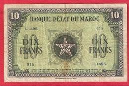 Maroc - 10 Francs 1/3/1944  -  Pick # 25  -  état  TB - Maroc