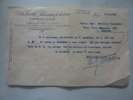 """Lettera Commerciale """"Ditta CARLO PAZZINI Fu ANTONIO Fabbriche Filo Ferro,etc,  CASTELLO DI LECCO"""" 27 Marzo 1935 - Italia"""