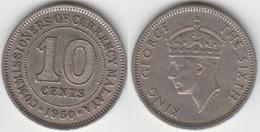 Malaya 10 Cents 1950 (The Sixth) KM#8 - Used - Malesia