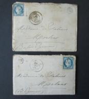 FRANCE 2 Lettres 1874 OR Timbre Cérès GC 741 CARRESSE CASSABER Pyrénées-Atlantiques Dépt 64 Lettre à Mme De Salinis - 1871-1875 Cérès