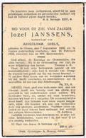 Dp. Jansens Jozef. Wed. Diels Angelina. ° Olmen 1856 † Baelen 1938 - Religion & Esotericism