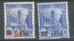 "Tunisie YT 182 & 183 "" Mosquée Surchargé "" 1937-38 Neuf* - Tunisia (1888-1955)"