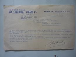 """Lettera Commerciale """"Studio Tecnico Sindacale Dott. F. BARTOLOMEI GHILARDI & C. PISTOIA, PESCIA, MONTECATINI"""" 1952 - Italia"""