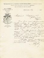 Lettre 1908 BRUXELLES - Alfred EYBEN - Représentant De La Sucrerie KLEIN-WANZLEBEN Pr La Vente Des Graines De Betteraves - Belgique
