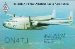 QSL Card Amateur Radio Aviation Airplane Avion  Fairchild C-119 Flying Boxcar Belgian Air Force Army 1998 - Radio Amateur