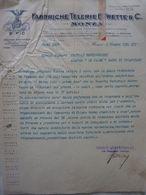 """Lettera Commerciale """"FABBRICHE TELERIE FRETTE & C. MONZA"""" Monza 6 Giugno 1934 - Italia"""