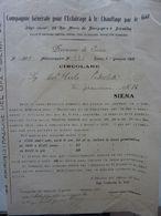 """Lettera Commerciale """"Compagnie Generale Pour L'Eclarirage & La Chauffage Par Le Gaz DIREZIONE DI SIENA"""" 11 Gennaio 1915 - Italia"""
