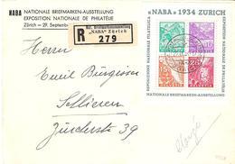 """Schweiz Suisse Expo """"NABA 1934"""" Zu WIII-1 Mi Block Yv 1 BF 1 Als FDC Auf Sonder-R-Brief Mit O ZÜRICH 29.IX.34 - FDC"""