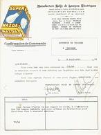 Confirmation De Commande Illustrée (Publicité Lampes MAZDA SUPER) 1938 BRUXELLES-Manufacture Belge De Lampes Electriques - Belgique