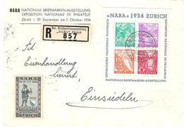 """Schweiz Suisse Expo """"NABA 1934"""" Zu WIII-1 Block 1 BF 1 Auf Sonder-R-Brief Mit O ZÜRICH 3.X.34 Plus Ausstellung-Vignette - Blocks & Kleinbögen"""