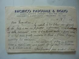 """Lettera Commerciale """"PACIFICO PASQUALE & FIGLIO MOBILI ACCIAIO CROMATO SALERNO""""  Salerno 14 Febbraio 1951 - Italia"""