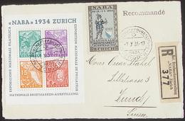 """Schweiz Suisse Expo """"NABA 1934"""" Zu WIII-1 Block 1 BF 1 Auf R-Karte Mit O ZÜRICH 7.X.34 (R377) Plus Ausstellung-Vignette - Blocks & Kleinbögen"""