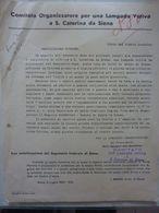 """Lettera Commerciale """"COMITATO ORGANIZZATORE PER UNA LAMPADA VOTIVA A S. CATERINA DI SIENA"""" Siena 5 Luglio 1941 - Italia"""