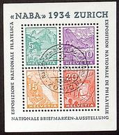 """Schweiz Suisse Expo """"NABA 1934"""" Zumstein WIII-1 Michel Block Yvert 1 BF 1 Mit O ZÜRICH 1.X.34  Plus Ausstellung-Vignette - Blocs & Feuillets"""