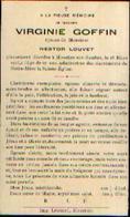 Souvenir Mortuaire GOFFIN Virginie (1849-1916) ép. LOUVET, N. Morte à MOUSTIER-SUR-SAMBRE - Images Religieuses