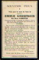 Souvenir Mortuaire PARMENTIER Marie (1852-1910) ép. GODEFROID E. Morte à FALISOLLE - Images Religieuses