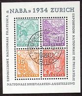 """Schweiz Suisse Expo """"NABA 1934"""" Zumstein WIII-1 Michel Block Yvert 1 BF 1 Mit O ZÜRICH 6.X.34  Plus Ausstellung-Vignette - Blocs & Feuillets"""