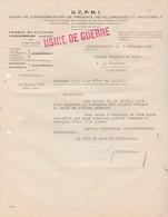 """Facture 1940 / UCPMI Métallurgie Forge Acierie / Tampon """"Usine De Guerre""""/ 57 Hagondange Moselle - 1939-45"""